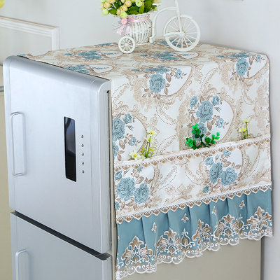 家居阁田园布艺冰箱盖布单开门双对开门防尘罩收纳袋盖巾66大促