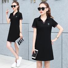 韩版 运动裙中长款 修身 翻领休闲透气短袖 2019夏装 连衣裙女 新款 时尚
