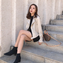 Leather dress 2018 new Korean version, Kong Feng leisure, thin and short motorcycle suit, Pu jacket, leather jacket, autumn winter dress.