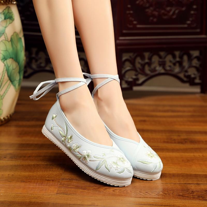 春夏汉服鞋古风布底布鞋女绣花鞋民族风弓鞋翘头鞋汉服搭配古装鞋