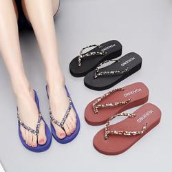 中跟人字拖女夏韩版时尚厚底坡跟凉拖学生平跟沙滩鞋防滑夹脚拖鞋