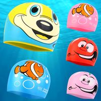 Cute fish-shaped silicone kids swimming caps, male and female baby cartoon sharks, children's swimming caps, water supplies