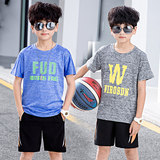 Boys quick-drying clothes 2019 new big children summer clothes children quick-drying sports suit boy short-sleeved two-piece tide