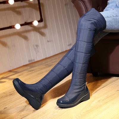 2017冬季防水羽绒过膝靴长筒雪地靴女式保暖棉靴防风护膝棉鞋长靴