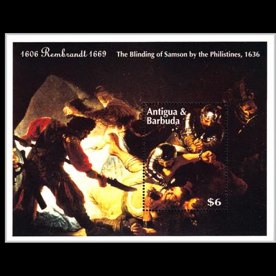 安提瓜和巴布达1993年伦勃朗逝世325周年 名画小型张 外国邮票