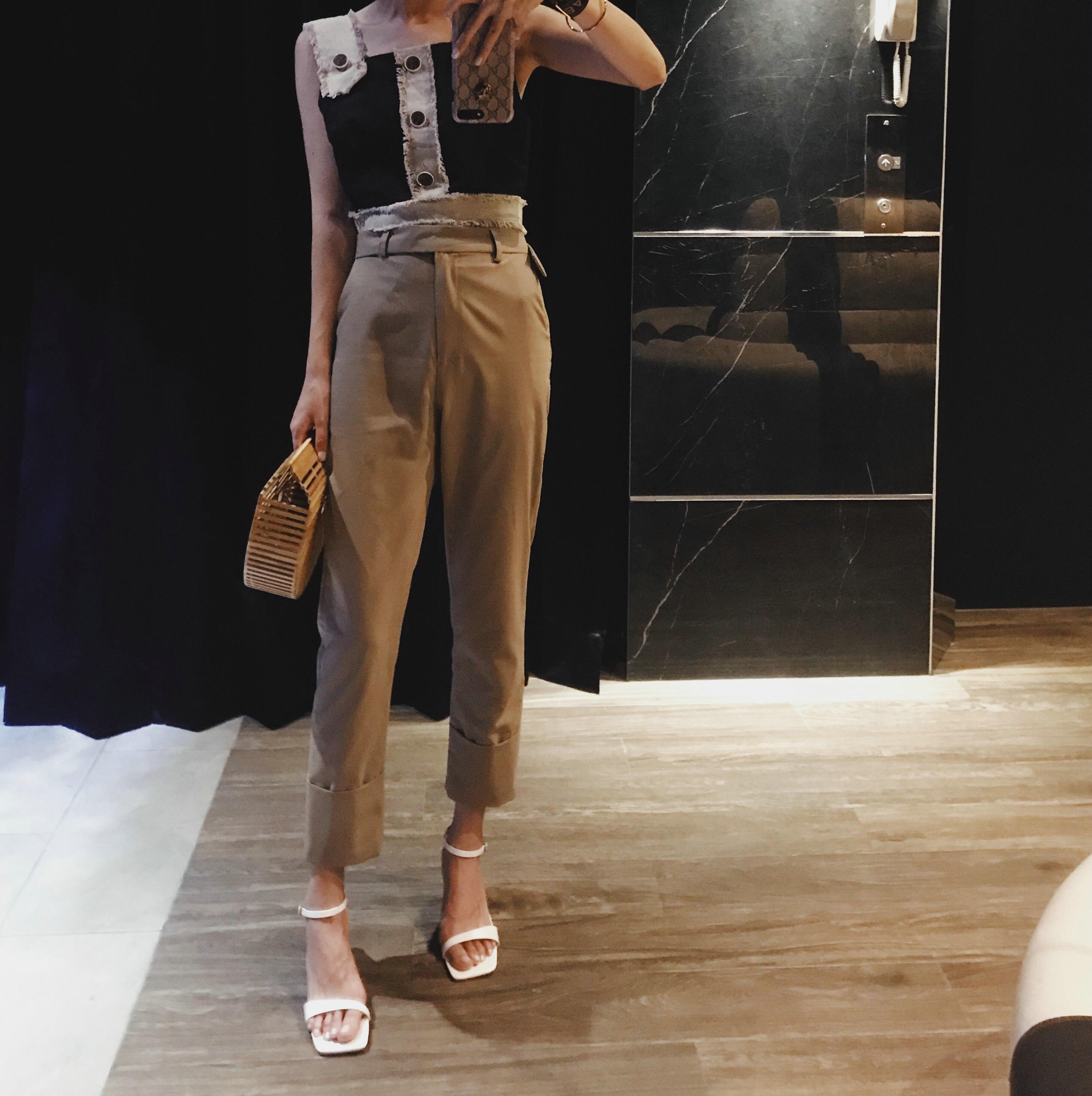 13YI【裤口大卷边】chic薄款休闲西装裤女夏2019新款直筒高腰裤