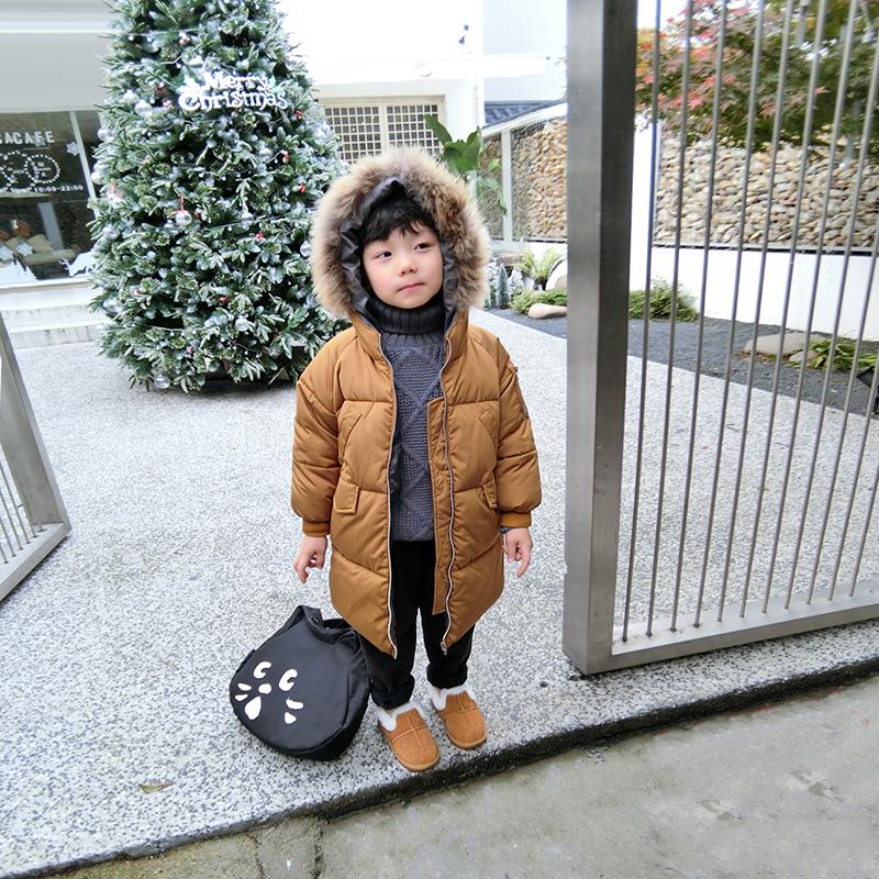 斑斑家童装男童2017冬新款焦糖色毛领连帽棉服中长款加厚保暖外套