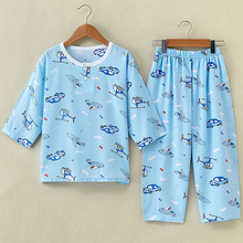 Summer silk, children's pajamas suit, pure cotton, silk, big boy, girl, child, baby, pajamas, thin household clothes.