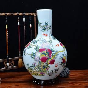 景德镇仿古陶瓷粉彩花瓶客厅中式现代家居装饰寿桃瓶博古架摆件