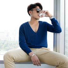 小胡子店2018春夏简约大V领套头针织衫男时尚垂感英伦长袖线衫