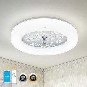 欧普照明圆形温馨led主卧室水晶吸顶灯具餐厅房间现代简约灯WS