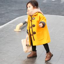 女童呢子外套2018年新款春款洋气公主时尚宝宝儿童牛角扣呢大衣