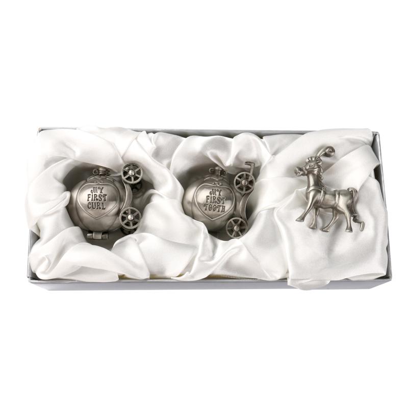 美国Lillian Rose南瓜马车婴儿乳牙胎毛收藏盒新生儿创意成长礼物