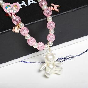 儿童饰品 韩版小熊项链可爱公主服装配饰 珍珠毛衣链宝宝生日礼物