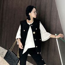 Small fragrant vest for summer wearing the new relaxed Black Retro Plaid sleeveless vest for spring and autumn in 2019