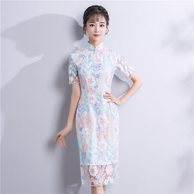 蕾丝旗袍装单开叉