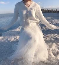 百搭显瘦 白色不规则蛋糕裙 白色纱裙 一年四季可穿 晚时光自制