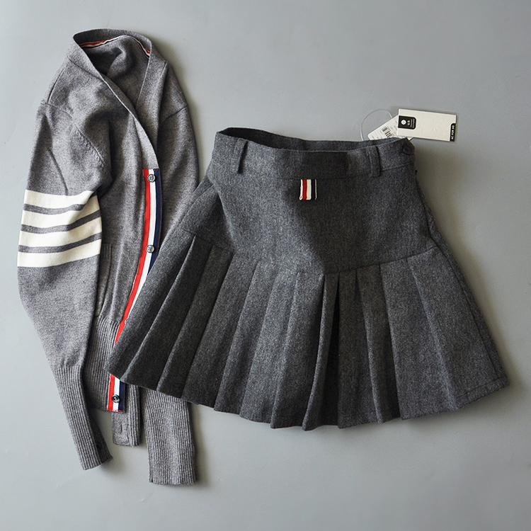羊毛百褶裙半身裙