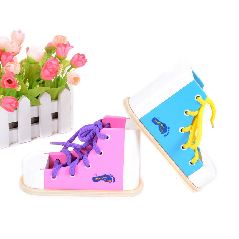 Child Early childhood education intelligence simulation tied the shoelaces shoes model DIY