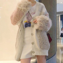 Warm winter fragrance, lazy mid-long summer sweater, sweater, candy color, loose stitching lamb wool jacket
