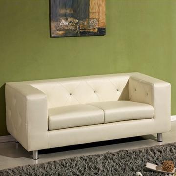 名世办公室皮艺双人小沙发  黑色白色韩式小户型沙发 简约时尚