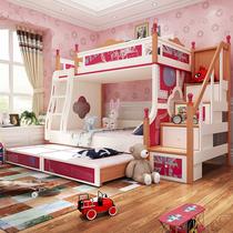 美式白蜡木实木高低床公主双层床儿童床上下床子母床女孩3d打印