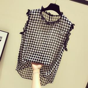 图片:2018夏装新款欧货女T恤潮欧美时尚蕾丝领黑白格无袖雪纺背心上衣