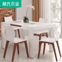 70562现代简约钢化玻璃台面可伸缩餐桌圆桌全友家私可折叠餐桌椅