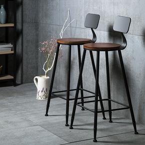 铁艺实木酒吧椅吧台椅家用休闲高脚椅高凳高脚凳吧凳吧椅靠背椅子