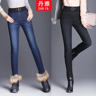 2017冬季保暖松紧腰加绒牛仔裤女弹力显瘦小脚铅笔裤靴裤棉裤子