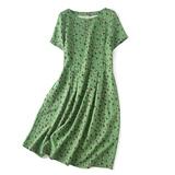 绿色燕子的花衣裳 改了好几次的版 桑蚕丝重磅短袖圆领绢丝连衣裙