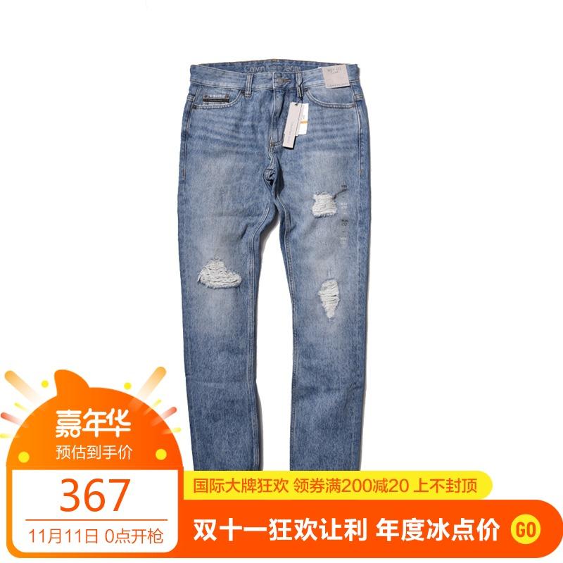 阿瞳牛社 美国 Calvin Klein 打磨 破洞砂砾感 水洗蓝修身牛仔裤,新款ck牛仔裤