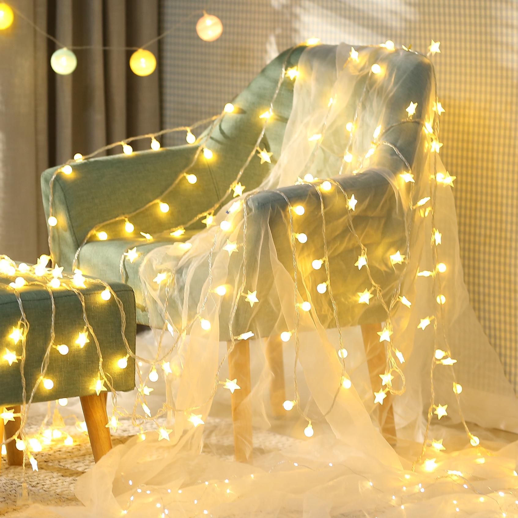 led星星灯彩灯闪灯串灯满天星少女心房间布置卧室浪漫网红灯装饰