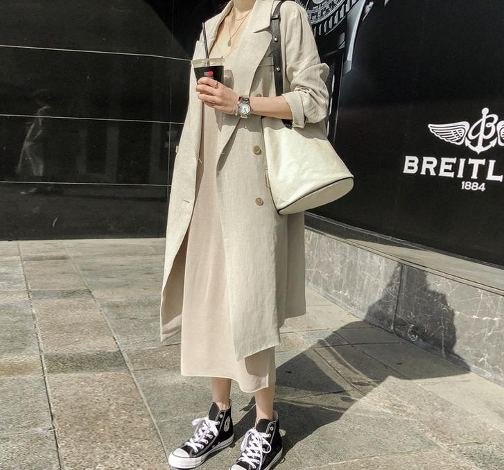 4韩国代购正品Naning9春48637 米色长款百搭休闲纯色风衣外套