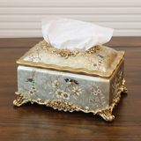 American Resin Towel Box European Retro Decoration Rectangular Towel Box Creative Home Decoration Crafts