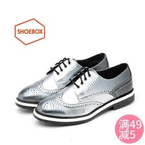达芙妮旗下鞋柜专柜正品气质英伦布洛克低跟圆头女单鞋1116404087