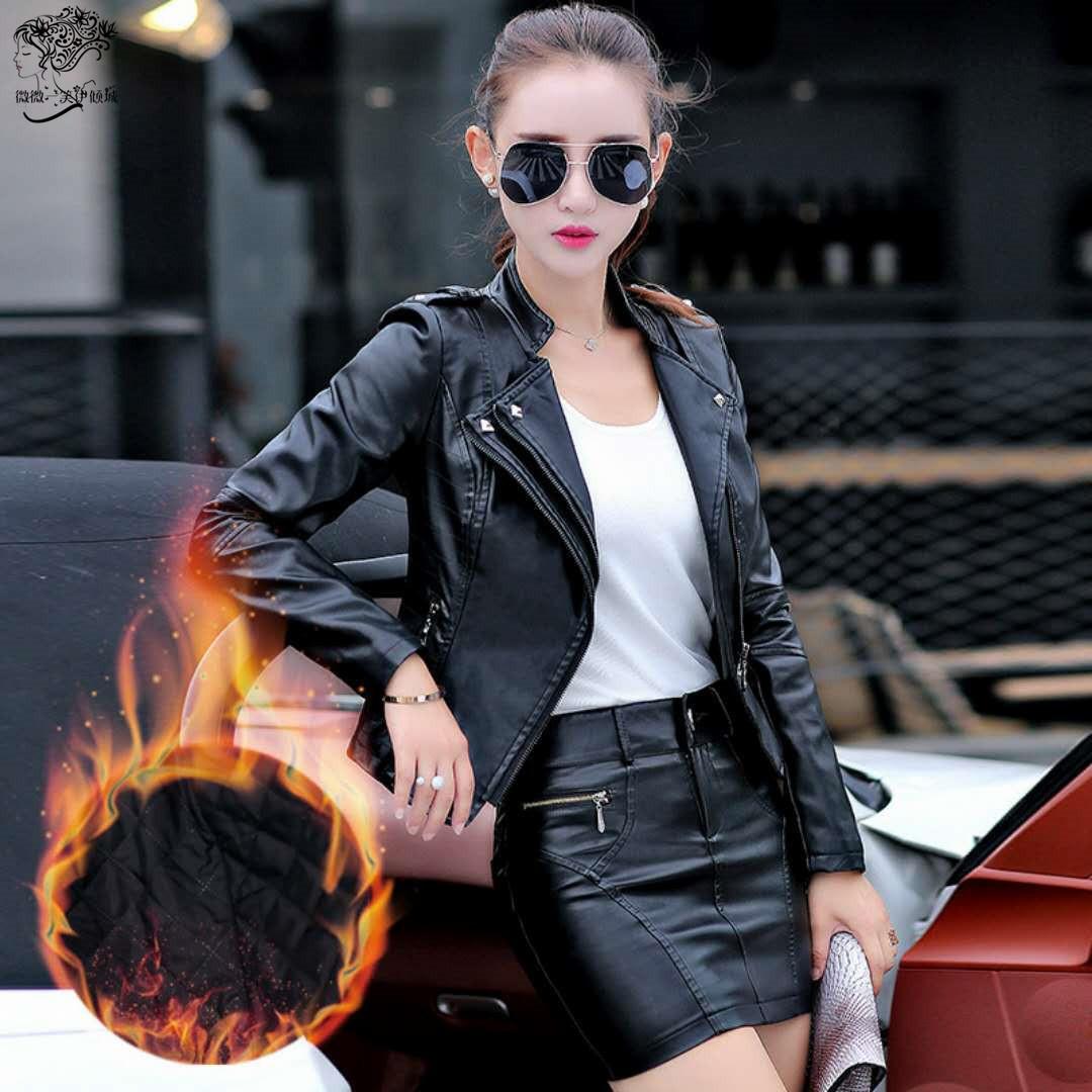 pu皮衣女短款外套2018秋新款韩版修身显瘦拉链机车皮夹克大码套装
