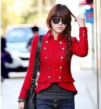 女装 毛呢外套韩版 休闲立领双排扣长袖 修身 2014秋冬新款 女式短外套