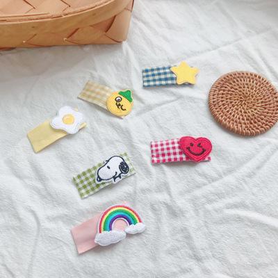 韩国新款布艺印花刺绣水果爱心星星发夹甜美可爱BB夹清新儿童边夹