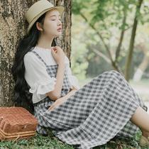 森系连衣裙夏季学生学院风吊带小清新背带裙网红套装两件套长裙女