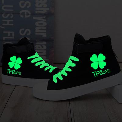 Tfboys夜光帆布鞋中学生高帮休闲板鞋手绘涂鸦鞋子发光女鞋黑色潮