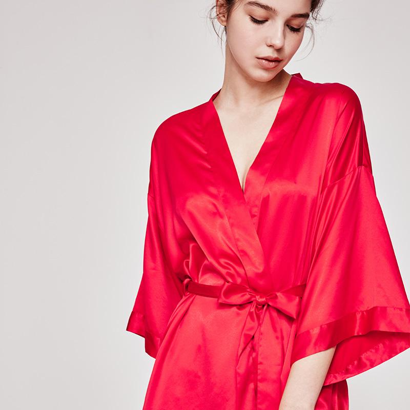 好奇小姐浴袍晨袍女新娘夏薄款仿真丝绸睡衣性感丝质绸缎睡袍春秋