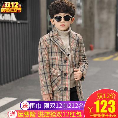 2018新款男童格子呢大衣儿童毛呢外套中大童冬装中长款韩版加厚季