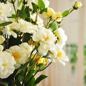 笑望冰山月季 仿真花绢花 包邮 F022 MEMA 含蓄蔷薇 满枝