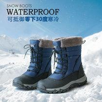 新款东北户外冬季保暖加绒加厚滑雪棉鞋2018雪地靴女中筒防水防滑