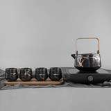 Mattmatted matte marble-printed tea set kung fu tea set five-piece set with teapot teacup raw wooden tray