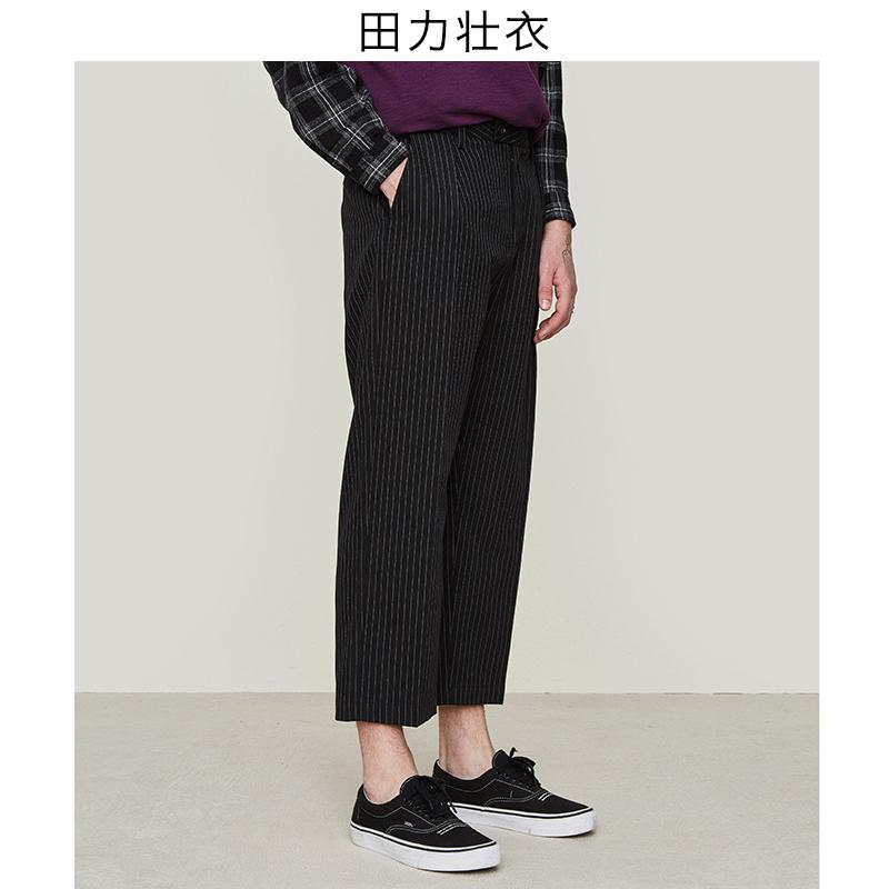 垂感条纹西装裤九分裤直筒男潮九分西裤宽松休闲复古欧美潮牌男裤