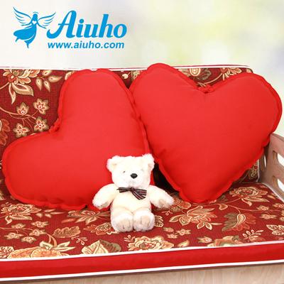 爱优活可绣字结婚礼物婚庆爱心抱枕一对可拆洗办公沙发室靠垫靠枕