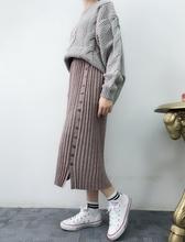 新款 高腰弹力单排扣侧开叉针织长裙女半身裙 2018春装