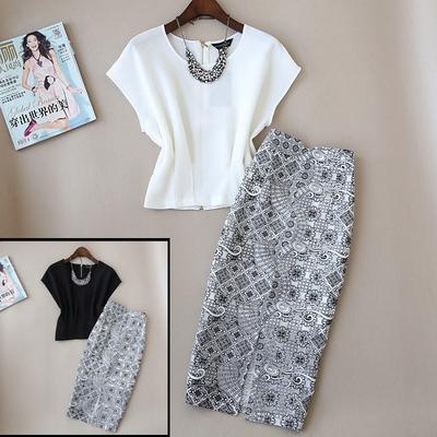 2件包邮夏装新款套装女韩版时尚修身气质小衫套装裙高腰裙连衣裙